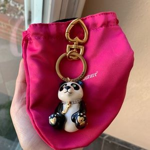 Juicy couture bejeweled panda keychain key fob